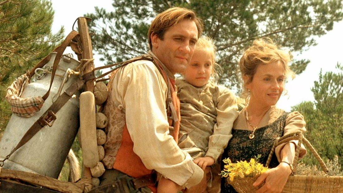"""Jean de Florette, sa femme et sa fille """" - Tournage de Jean de Florette à Sommières"""