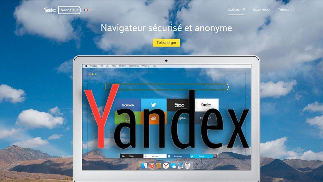 La page d'accueil de Yandex