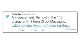 10 000 caractères pour les messages directs de Twitter