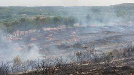 Après le passage des pompiers, des brûlots de bois subsistent