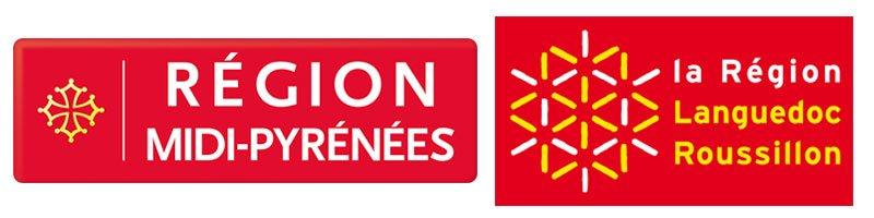 Logos originels des régions Languedoc-Roussillon et Midi-Pyrénees