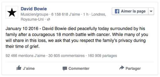 Annonce du décès de David Bowie alias Ziggy sur Facebook