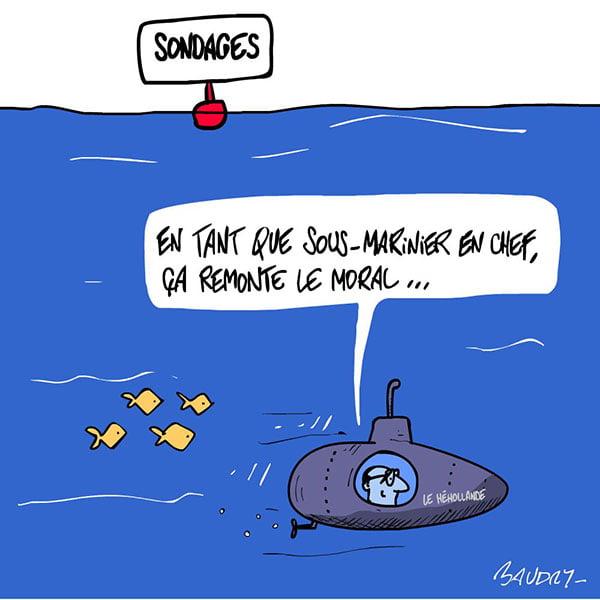 Hollande sous-marinier en chef par le dessin de presse du Sénat