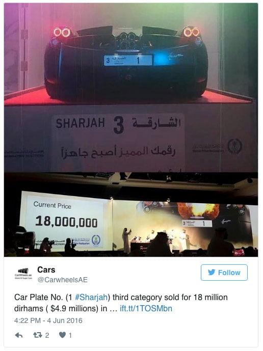 18 millions de dirhams pour une plaque …