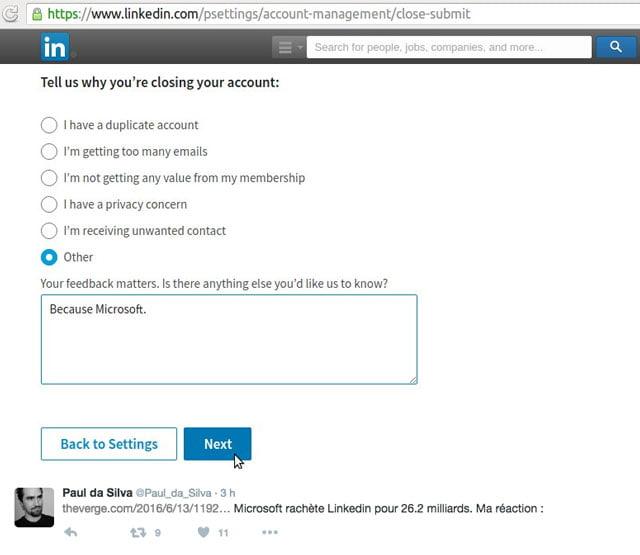 Réaction d'un internaute via son formulaire de clôture de compte Linkedin