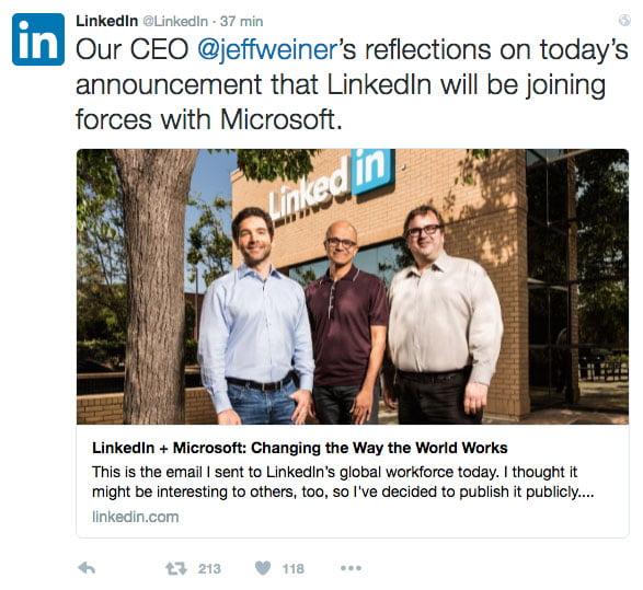 L'annonce du rachat sur twitter par Linkedin