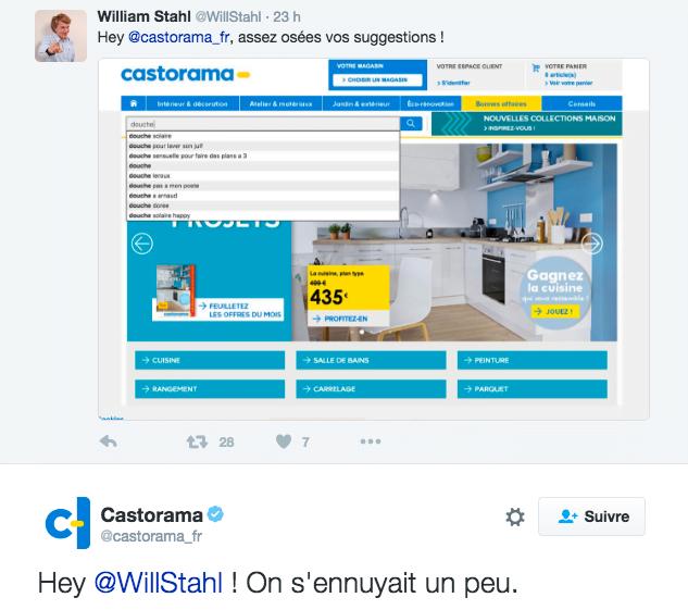 Au début, les responsables du compte twitter de Castorama étaient mort de rire