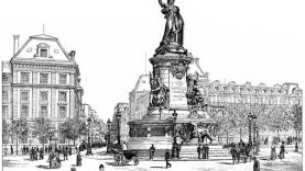 Gravure de la statue érigée place de la République à Paris en 1790.