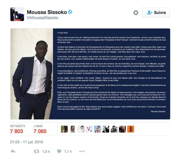 L'émouvant tweet de Moussa Sissoko
