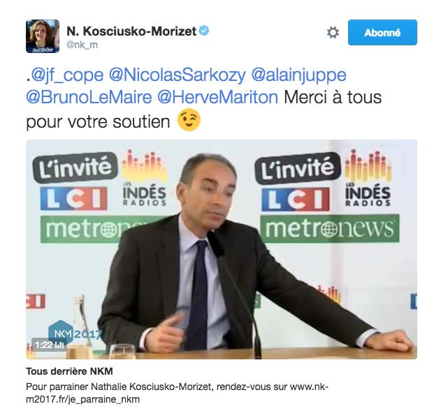Le tweet de NKM en forme de troll qui peut agacer certains politiciens de son propre camps politique