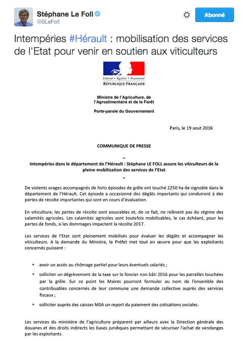 Tweet du ministre de l'agriculture Stephane Le Foll