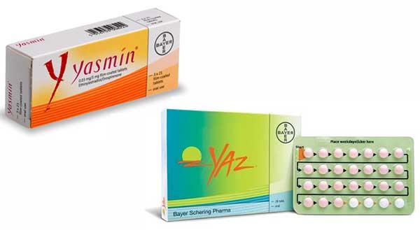 Les boite de pilules Yasmine et Yaz par Bayer