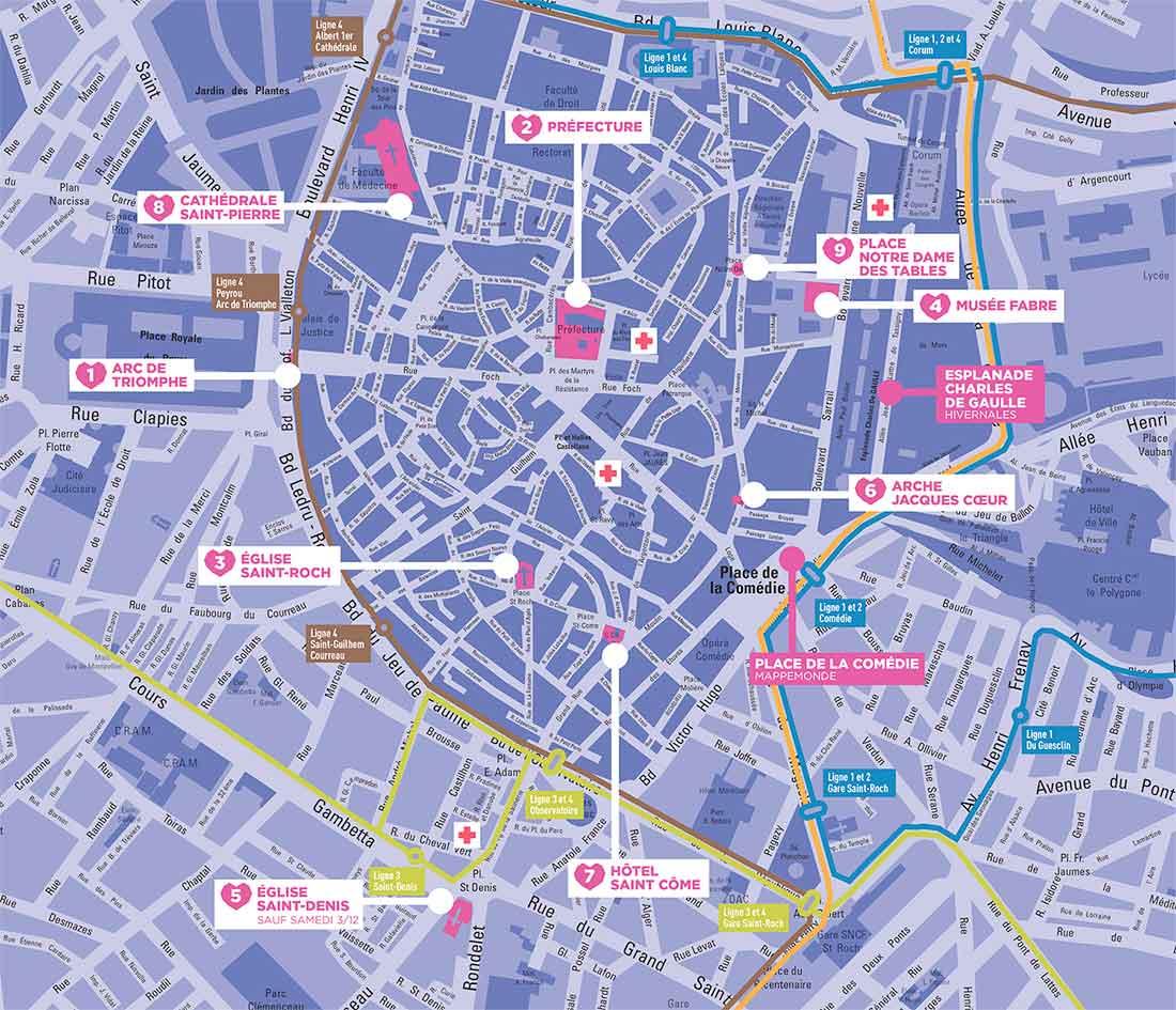 Plan des sites Plan du Coeur de ville en lumières à Montpellier