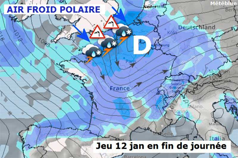 L'arrivée de froid polaire sur la France