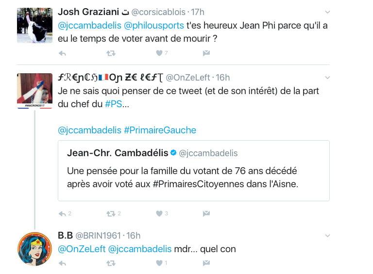 De nombreuses réponses s'enchainent sur le compte twitter de JC Cambadélis