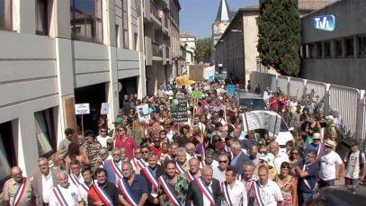 Manifestation contre le gaz de schiste à Nîmes.