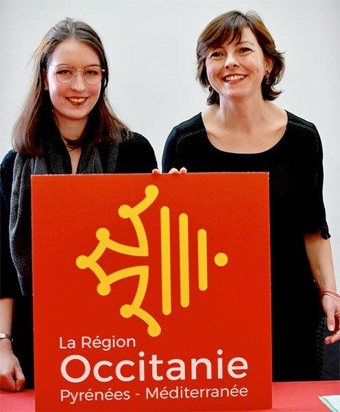 La lauréate du concours Léa Filipowicz avec Carole Delga, présidente de la région Occitanie