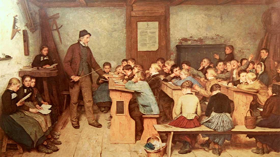 Le maître d'école et sa classe, vers 1848, par Albert Anker (1831–1910)