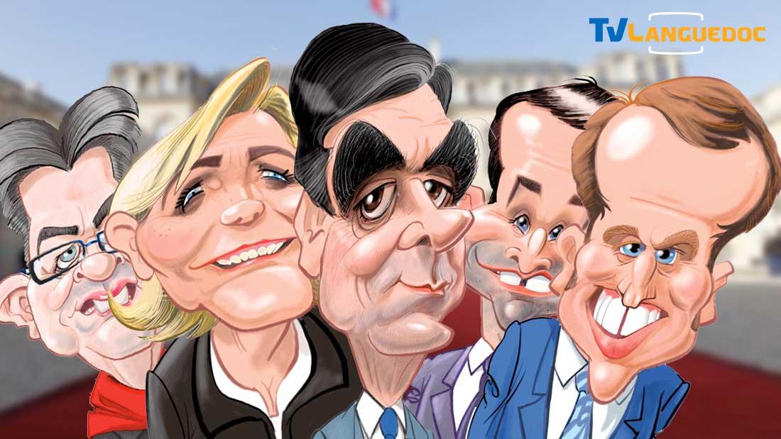 Avant de se faire coiffer au poteau, cinq candidats en désordre, posant droits dans leurs bottes, mais bien coiffés