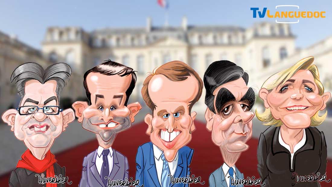 Les cinq candidats alignés devant l'élysée