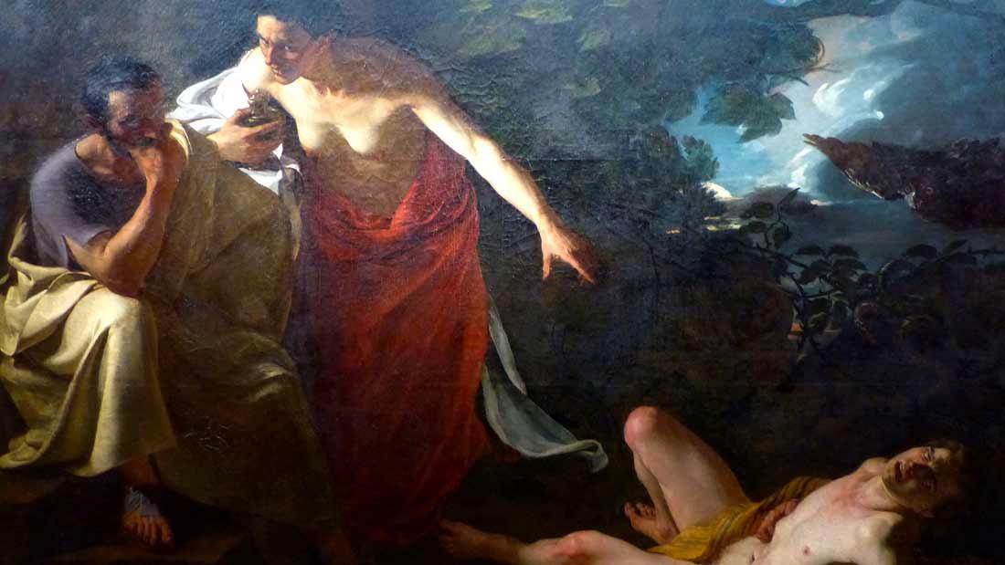 locuste remettant a narcisse le poison destine a britannicus en faisant l essai sur un jeune esclave, Xavier Sigalon 1787 1837
