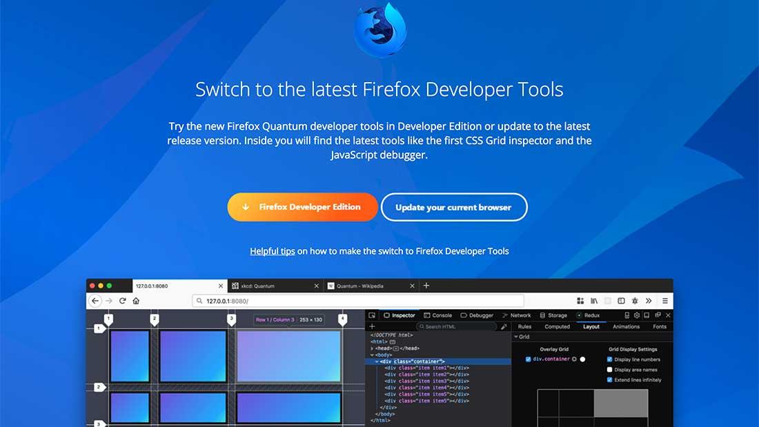 Dernière version de Firefox Dev Tools
