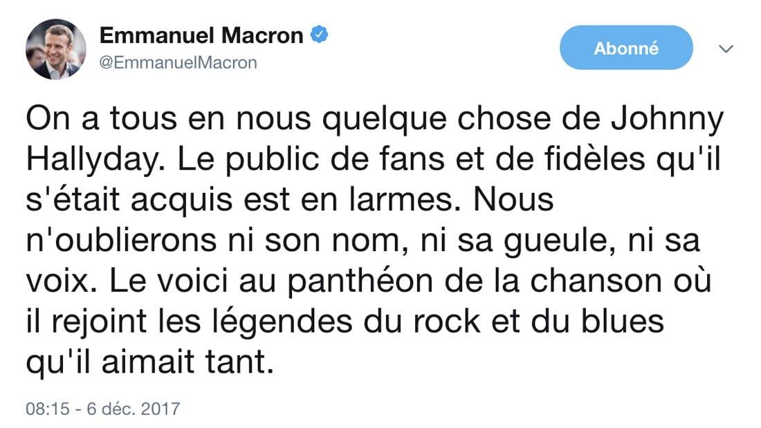 hommage du président Emmanuel Macron via twitter