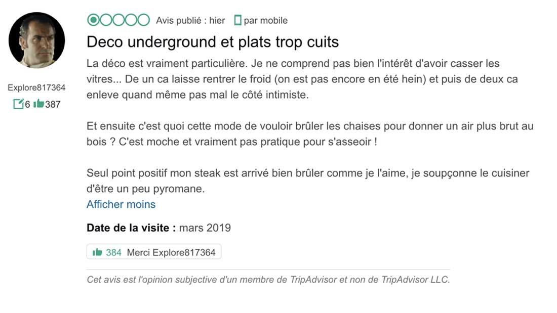 Capture d'écran Trip advisor - Fouquets déco underground