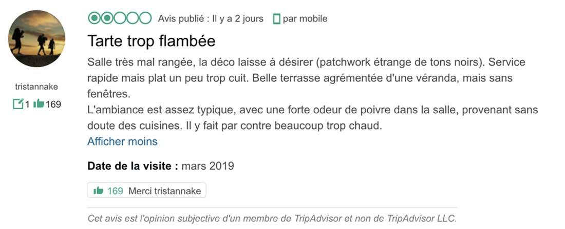 Capture d'écran Trip advisor - Fouquets tarte trop flambée