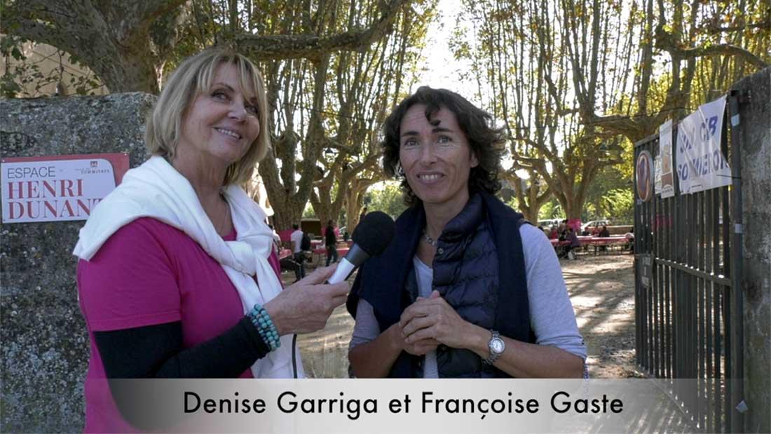 Denise Garriga et Françoise Gaste lors de la journée d' Octobre rose 2019