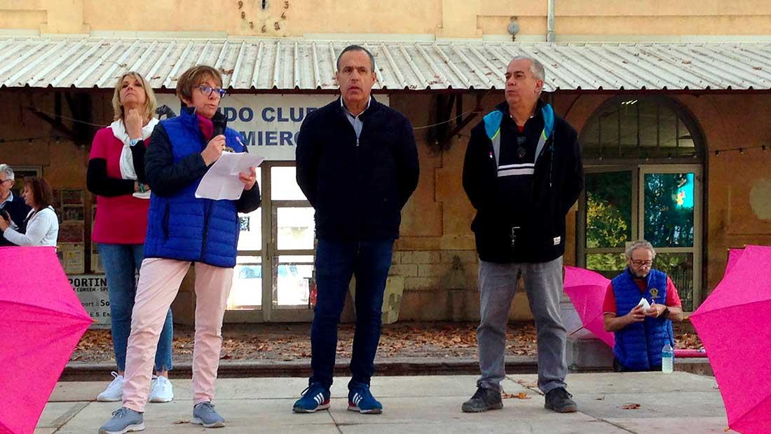 Denise Garriga , Dr Sophie Perrin Juif et Pierre Martinez lors d'Octobre Rose à Sommières