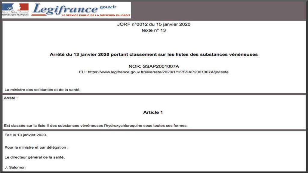 La chloroquine est devenue le 13 janvier 2020 une substance vénéneuse