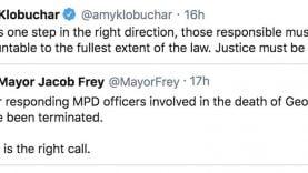 USA : l'annonce sur twitter de la révocation des 4 policiers de Minneapolis ayant provoqué la mort en direct par étouffement de George Floyd est approuvée par la Sénatrice du Minnesota Amy Klobuchar, ajoutant que la justice doit être rendue.