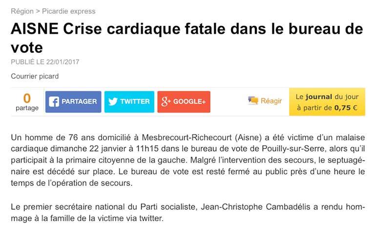 Lors des primaire de gauche, Christophe Cambadelis premier secrétaire du PS rend hommage à un votant qui décède après avoir voté